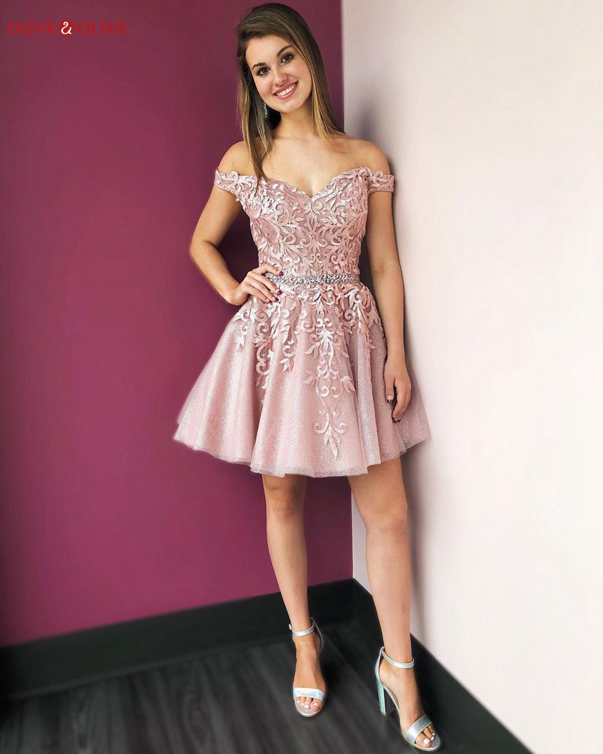Off the Shoulder Blush Pink Cocktail Dresses 2020 Short Off Shoulder Sweetheart Ball Gown Sequined Party Gowns Formal Graduation