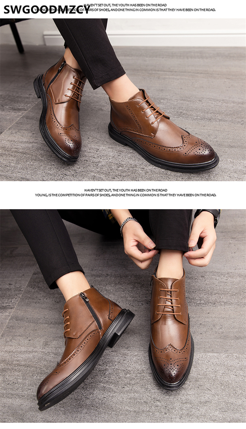 brogue sapatos masculinos marca de luxo italiano