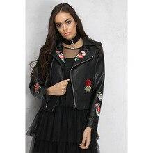 Осень, женское платье, стиль, куртка с вышивкой, короткая, на молнии, локомотив, короткое кожаное пальто