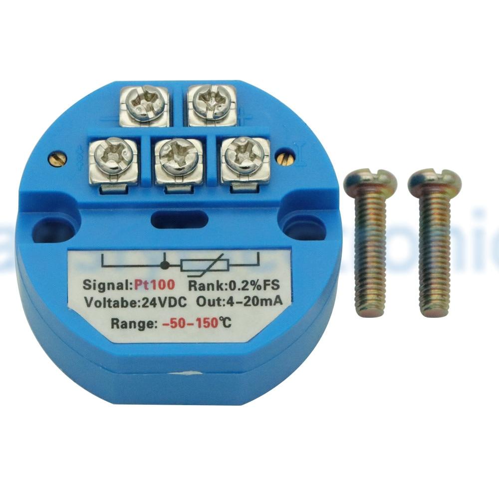 DC 24V RTD PT100 Temperature Transmitter Sensor Module Thermal Resistance 4-20mA -50~150 Degree