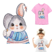 Rabbit Iron on transfers for Clothing stickers patches iron vinyl transfer badge bunny patch Washable