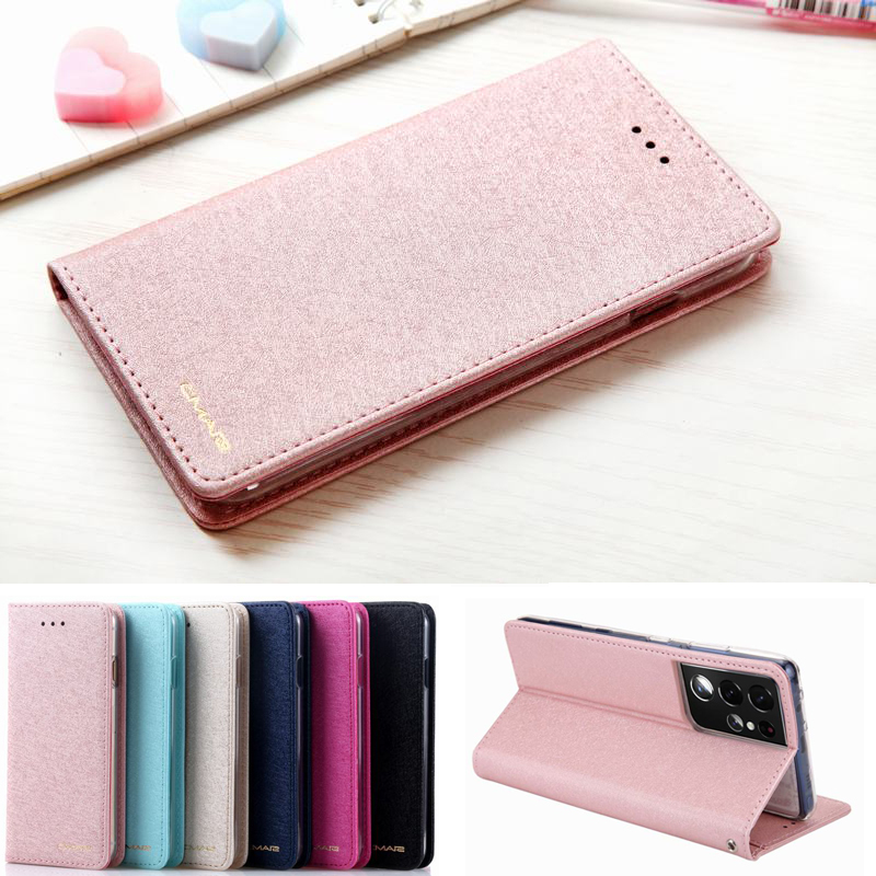 Luxury Silk Leather Case For Samsung Galaxy S21 Ultra Case Cover Samsung S21 Plus Case Flip Wallet Magnetic Cover Card Holder