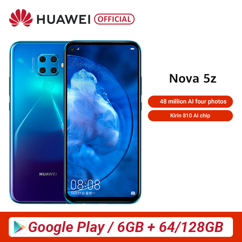 Original Huawei Nova 5z 6GB 64GB 128GB Smartphone 48MP Cameras 32MP Front Camera 6.26'' Full Screen Kirin 810 Android 9