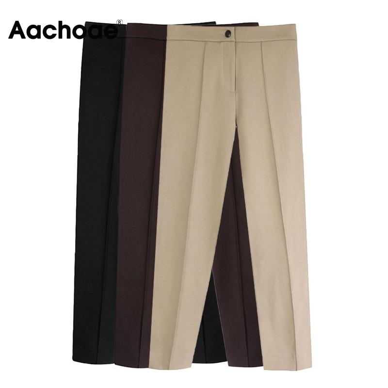 Aachoae Women Solid Elegant Pants Leggings Pleated Side Leg Split Pencil Pants Lady Zipper Fly Casual Skinny Trousers Pantalon 2