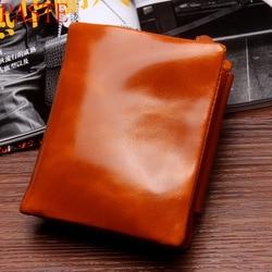 Mejor moda Vintage cera de aceite Cartera de cuero genuino mujeres monedero Mini Cartera de viaje mujeres carteras y monederos