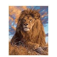 Картина по номеру холст рамка рисунок льва сделай сам краска