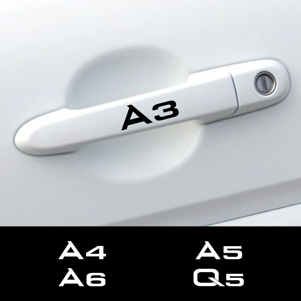 4 sztuk klamka do drzwi samochodowych naklejki na Audi A4 B5 B6 B7 B8 A3 8P 8V 8L A5 A6 C6 C5 C7 A1 A7 A8 Q2 Q3 Q5 Q7 TT RS3 RS4 RS5 akcesoria