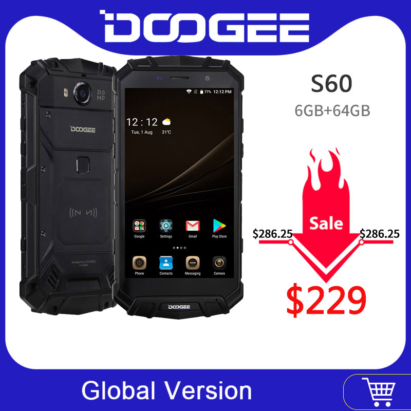 IP68 Original DOOGEE S60 chargeur sans fil Smartphone 5580mAh 12V2A Charge rapide 5.2 ''FHD Helio P25 Octa Core 6GB 64GB 21.0MP