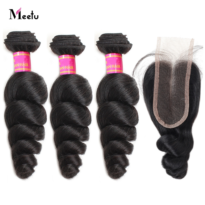 Meetu Brazilian Loose Wave Bundles With Closure 100% Human Hair 2/3 Bundles With 2x4 Lace Closure Middle Part Non Remy Hair Weft