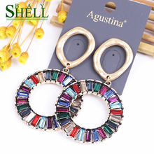 expensive large earrings white gold blue red 4 colors luxury jewelry great jewellery high quality big drop earring for women Shell bay Blue Kpop Earrings Fashion Jewelry Crystal Earrings Women Drop Circle Earrings Korean Boho Earings Luxury Earring Big