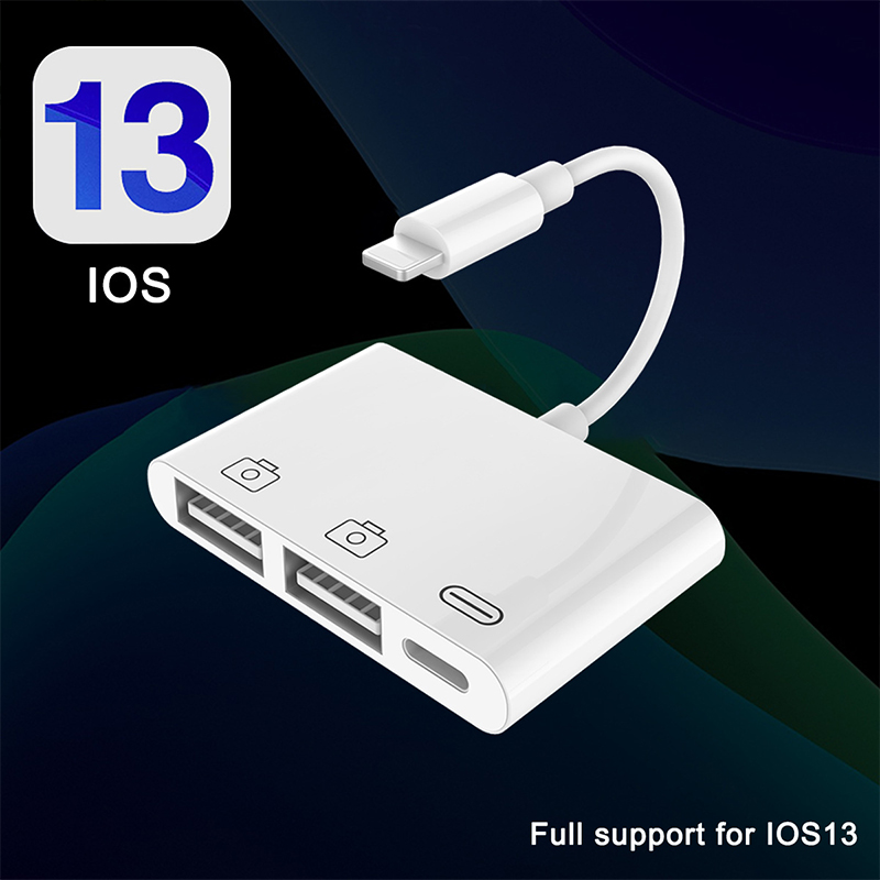 UTHAI A16 For Iphone USB OTG Adapter 500mAh With Charge Lightning High Power Support File For SLR U Disk Card Reader Of IOS13