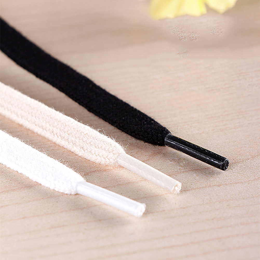 1 Pair Cotton Flat Shoelaces Soft Waterproof Casual Shoes Laces Sneaker Canvas Shoe Lacing Black White Beige Available Length