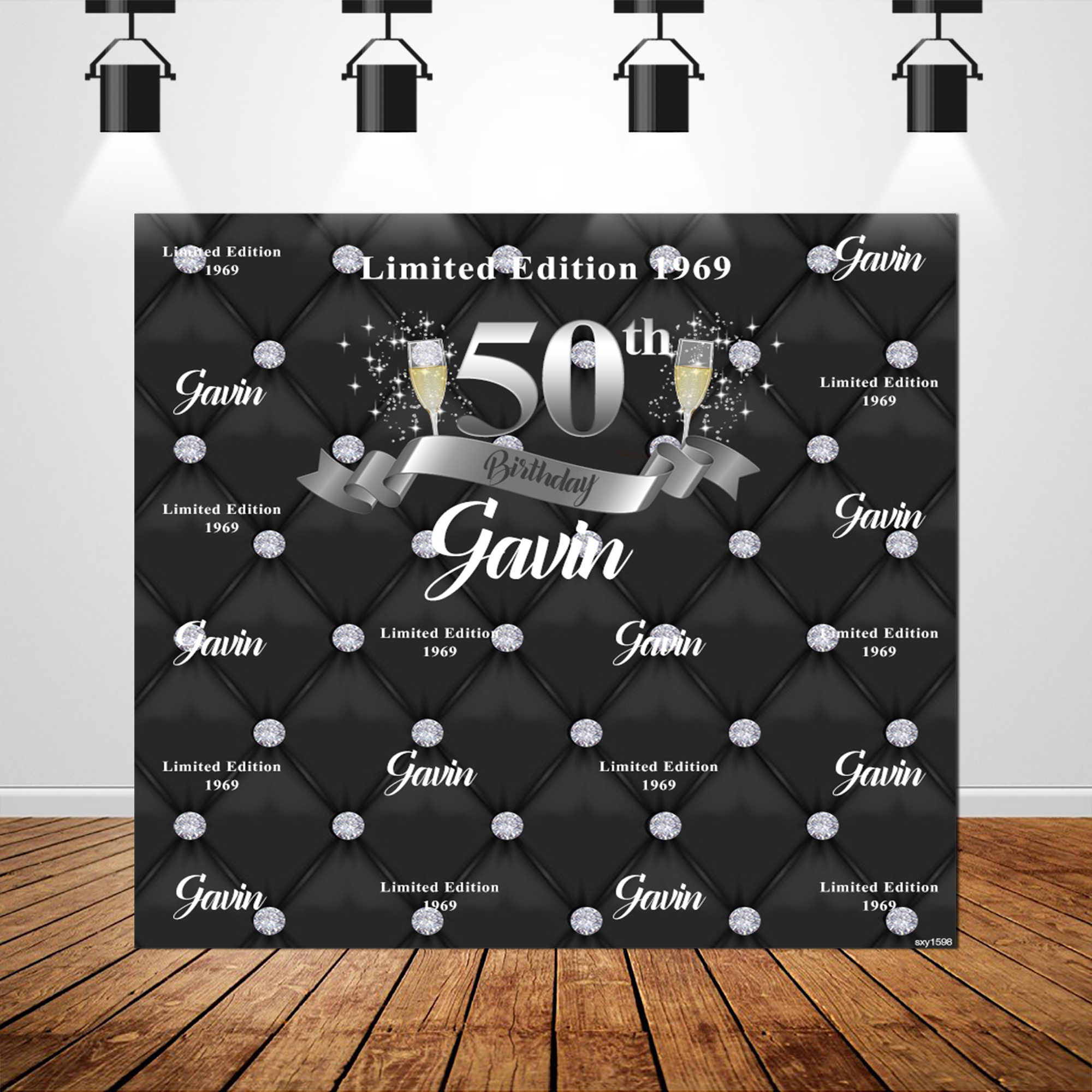 Sxy1598 Diamond Black Tufted Step and Repeat Background For Photo Studio Photocall Custom Silver 50th Birthday Backdrops 10x10ft image