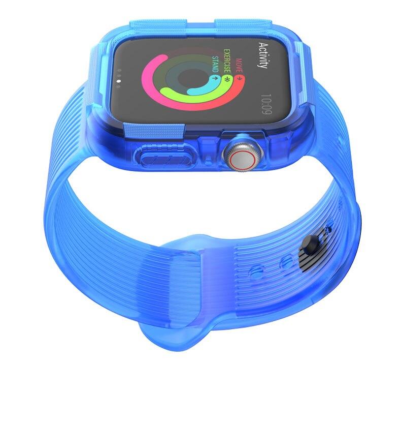 Anti-chute cas + sangle pour la bande montre de pomme 44mm 40mm couvercle de protection en silicone + bracelet pour montre iWatch d'Apple 4 5 Accessoires