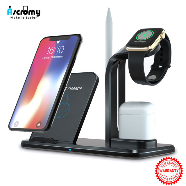 Wireless Charger Stand 3 in 1 Wireless QI Charging Station Dock for Apple Watch iPhone Xs X Max XR 8 Plus iWatch 1 2 3 4 AirPods