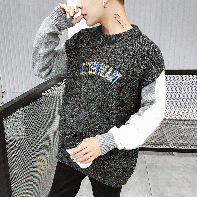 Winter Sweater Men's Warm Fashion Letter Embroidery O-neck Knit Pullover Men Loose Knitting Sweaters Male Sweter Clothes M-2XL