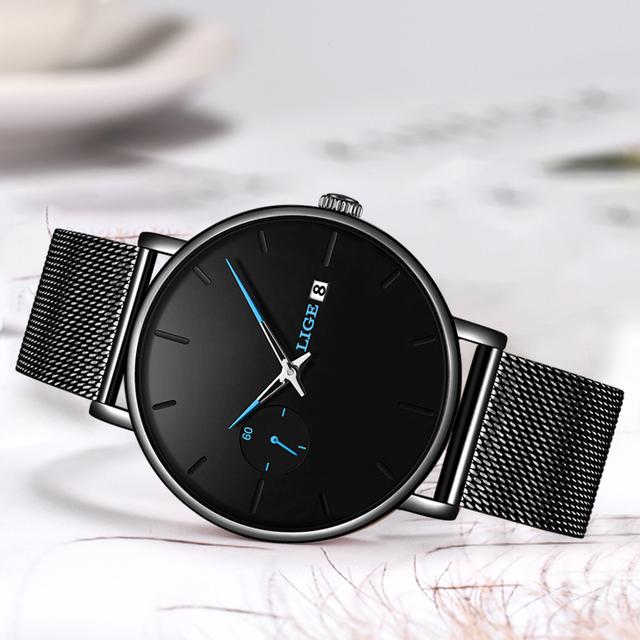 LIGE Quartz Watch Women And Men Watch Top Brand Luxury Famous Dress Fashion Watch Men Unisex Ultra Thin Wrist watch Para Hombre