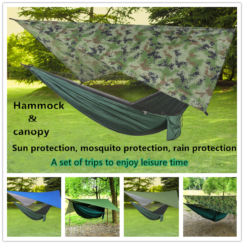 Portable Parachute Hammock With Mosquito Net And Hammock Canopy Army Survival Hammocks Travel Nylon Hammock Camping Hammock