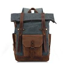 2020 retro men's bag oil wax waterproof canvas travel backpack canvas bag men's backpack crazy horse leather men's bag