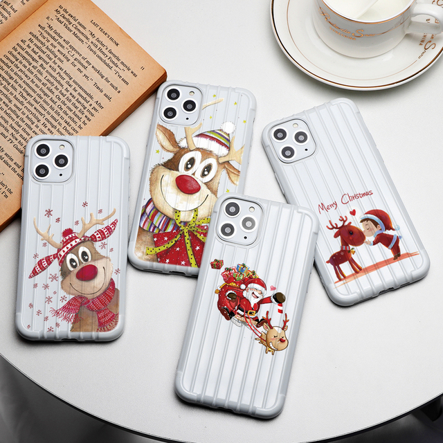Merry Christmas Cartoon Trunk Case For iPhone XR 11 Pro Max X Cover 7 8 6 6S Plus Coque For iphone XS Max TPU Soft Silicone Case