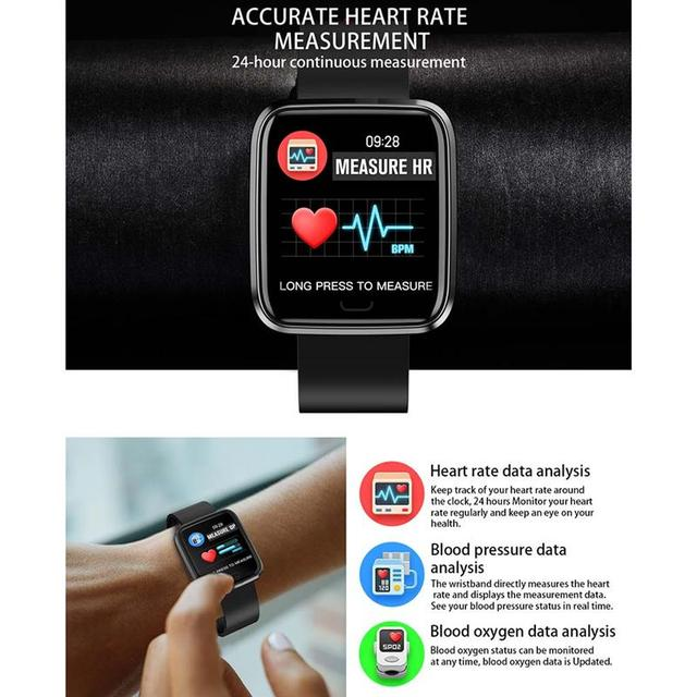 New Bluetooth Smart Watch Fitness Tracker with Heart Rate Blood Pressure Detector Waterproof Sleep Bracelet, Blue/Red/Black 5