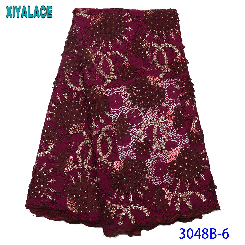 2019 Nigerian Lace Fabrics Hot Sale Sequence Lace Fabric High Quality French Net Lace Fabric With Sequins For Women KS3048B