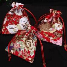 Sacs cadeaux brodés à la main, lot de 12x15cm, sacs cadeaux à Double étage avec cordon de serrage, sac de rangement de breloques, sacs d'emballage d'accessoires de bijoux, 1 pièce