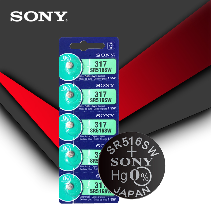 5Pcs/Lot Brand New Sony LONG LASTING 317 SR516SW SR62 D317 V317 Watch Battery Button Coin Cell MADE IN JAPAN 100% Original