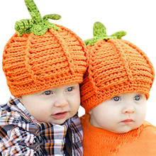 Lovely Baby Popular winter Newborn Baby Pumpkin Cap Knit Hat Halloween Costume Photography Prop Warm Hat Photography Props 0-9M(China)