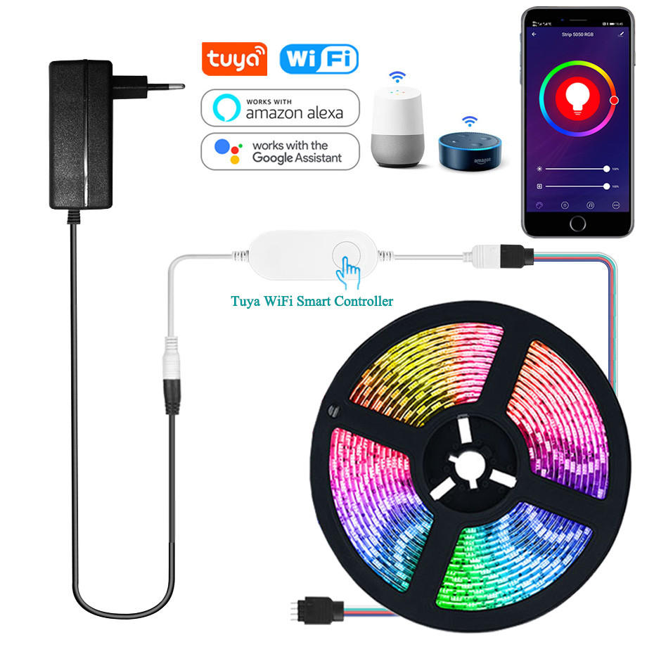 Smart WIFI LED Strip Light Work with Alexa Google Assistant Voice Control RGB LED Lights Strip 12V 5050 60LEDs/m Color Changing