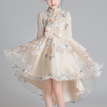 New Chinese Asian Design Kids Dress For Girls Tailing Buckle Chinese Style Elegant New Year Princess Children Party Dress