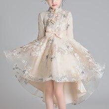 Novo vestido de design chinês asiático crianças para meninas cauda fivela estilo chinês elegante ano novo princesa vestidos de festa vestido