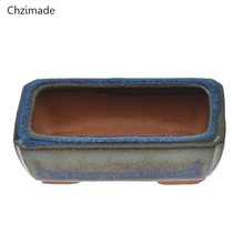 Chzimade 9 Styles Chinese Ceramic Bonsai Flower Pots For Flower Plants Glazed Pot Planter Home Decoration(China)