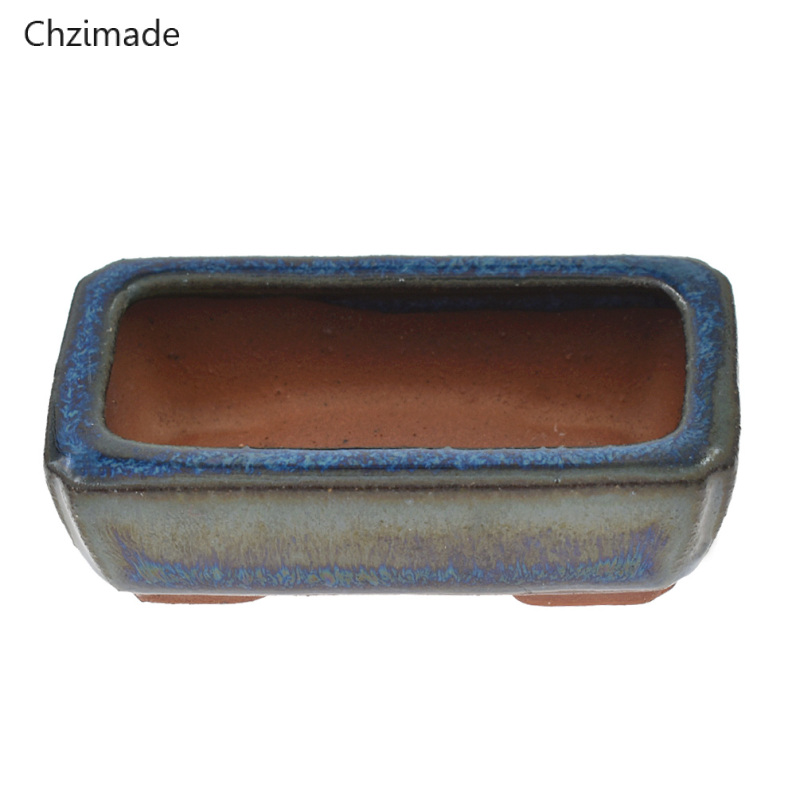 Chzimade 9 Styles Chinese Ceramic Bonsai Flower Pots Storage Boxes For Flower Plants Glazed Pot Planter Home Decoration