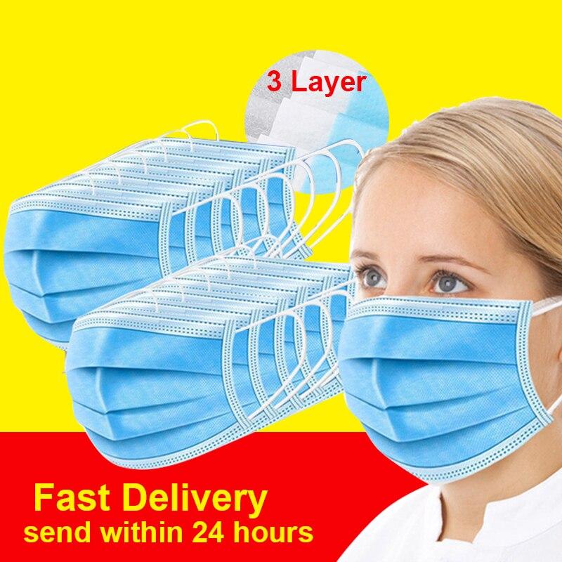Disposable 3 Layer Mouth Mask 50pcs 100pcs Men Women Mouth Mask Windproof Face Masks