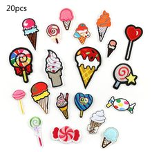 20Pcs Cartoon Sweets Lollipop Ice Cream Patches Iron On Kids Embroidered Decorative Sewing Applique for Clothes Bag DIY
