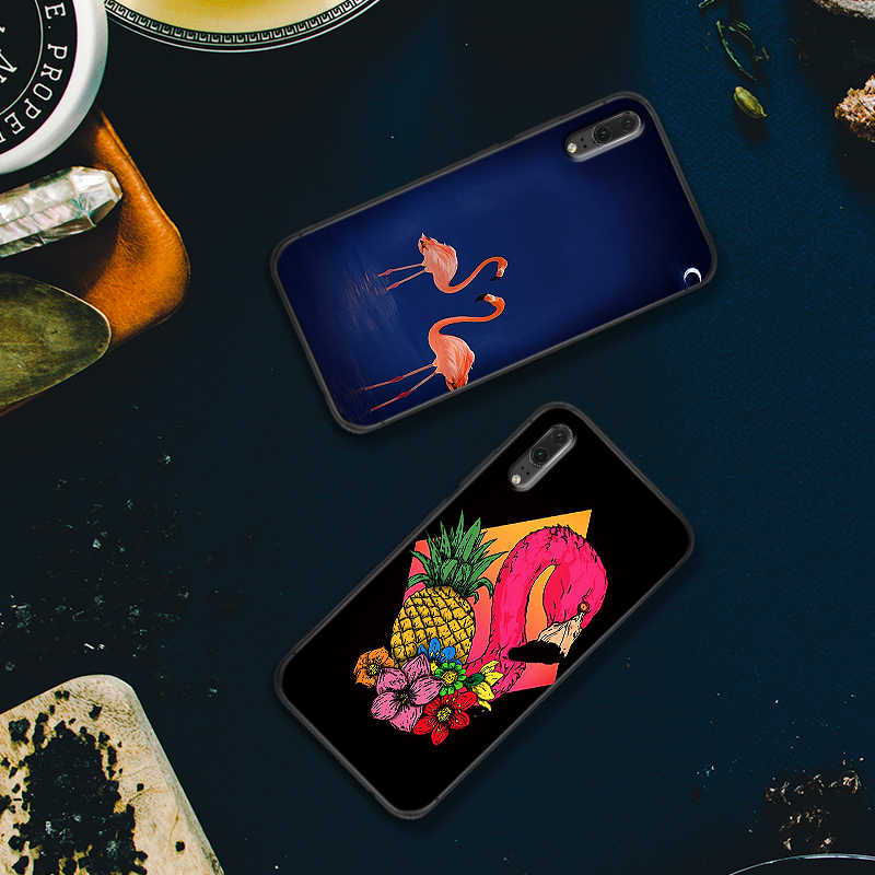 Retro flamingo tropical หรูหราสีดำสำหรับ Huawei P สมาร์ท Z 2018 P20 Pro P8 P9 Mini P10 P20 2019 p30 LITE