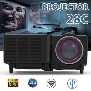 Image 2 - חדש UNIC 28C LED מיני מקרן נייד 1080p מלא HD מקרן בידור קולנוע ביתי מקרנים USB/SD/AV קלט