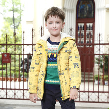 Teenage Big Boy Winter Jacket 2019 Children's Yellow Bear Hooded Outerwear Kids Thicken Warm Coat for Boys 4 6 8 10 12 14 Years(China)