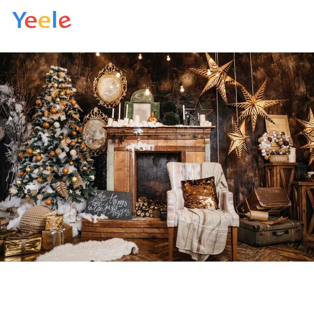 Yeele Christmas Tree Fireplace Stars Chair Home Decor Photography Backgrounds Customized Photographic Backdrops for Photo Studio