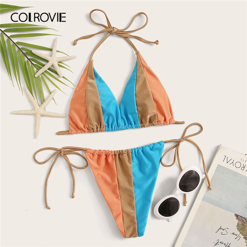 COLROVIE Colorblock Halter Top With Tie Side Bikini Set Women Multicolor Bikini Set 2020 New Summer Stretchy Sexy Beach Swimsuit