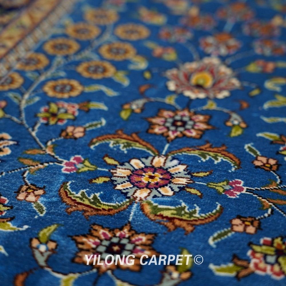 Yilong 6'x9 'Vantage əl düyünlü mavi qonaq otağı xalça ipək - Ev tekstil - Fotoqrafiya 4