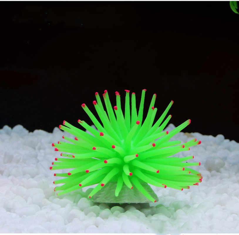 Akwarium silikonowe symulacja sztuczny Fish Tank fałszywy koral roślina podwodny wodny ukwiał ozdoba akcesoria wędkarskie