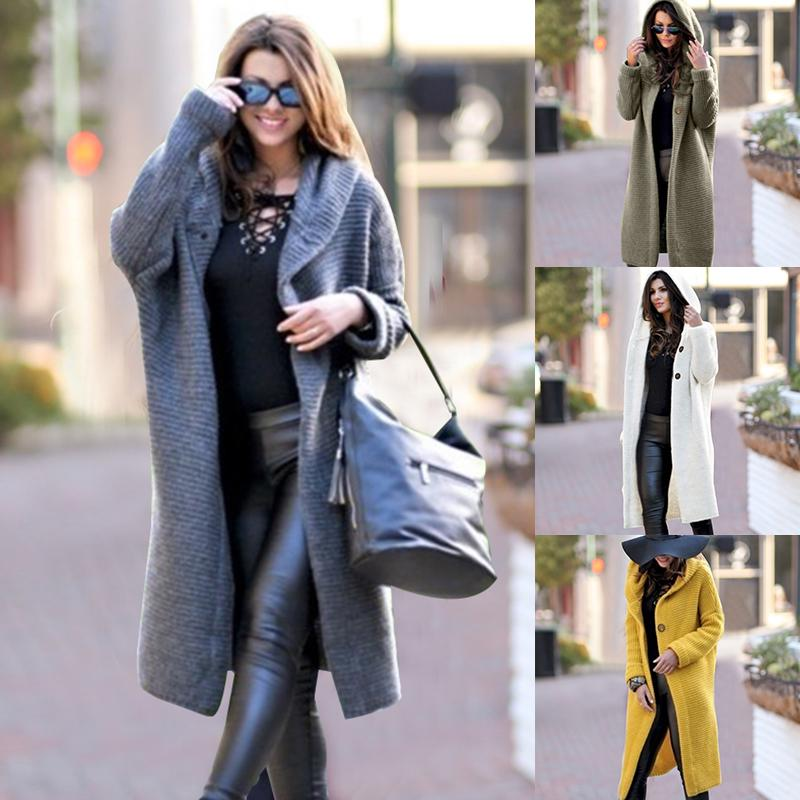 Long Solid Cardigans Hooded Women Winter Coat Knitted Button Sweaters Plus Size 5XL Casual  Ladies Warm Outwear