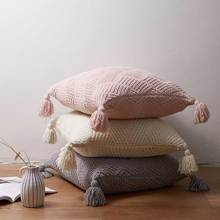 Soft Cushion Cover 45x45cm Ivory Pink Grey Pillow Cover Tassels Chenille Knit Home decoration Square Pillow Case  For sofa Bed