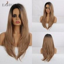 EASIHAIR pelucas de pelo largo liso negro a marrón con flequillo lateral, sintético, Cosplay, resistente al calor