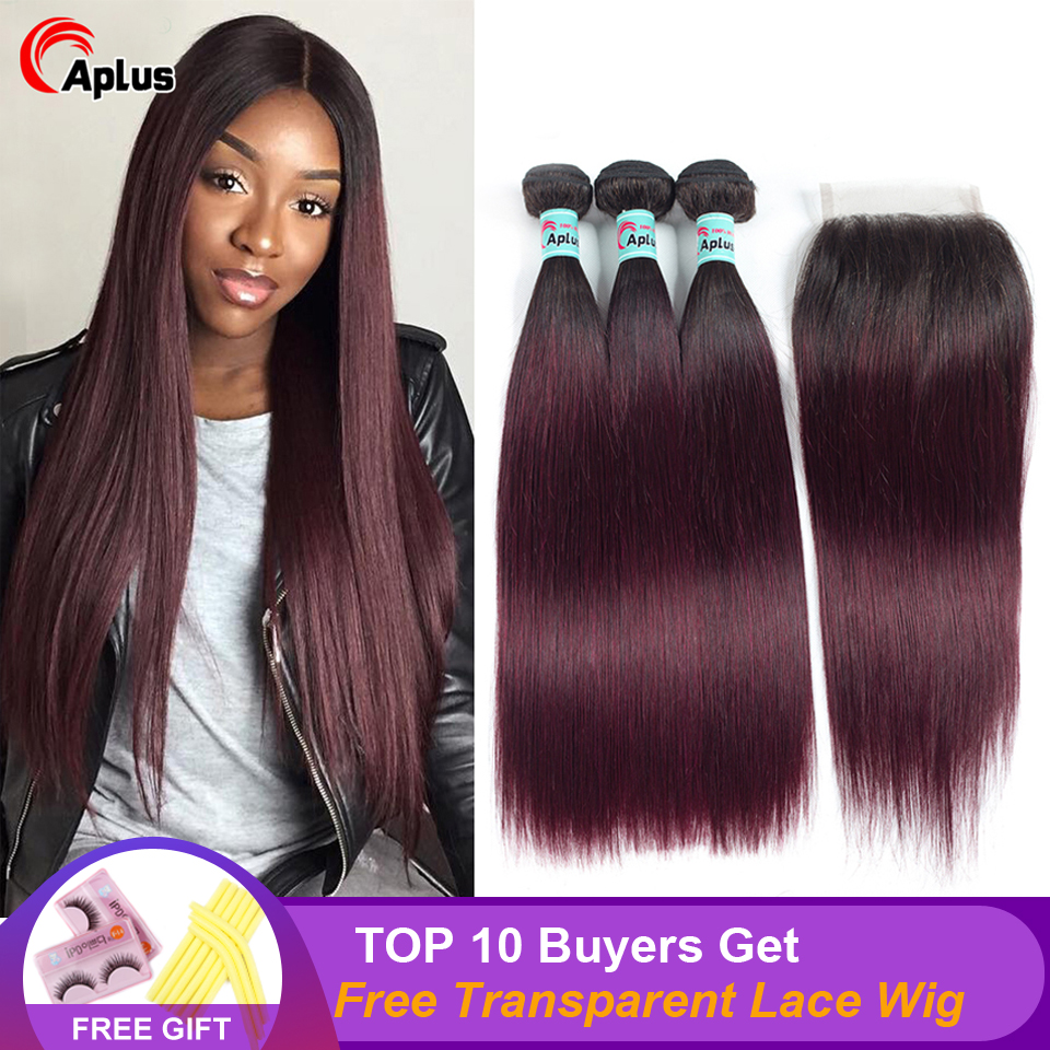 Aplus Hair Straight Two Tone Indian Hair Bundles With Closure 4Pcs/Lot 1B/99J Ombre Human Hair Bundle With Closure Non-remy Hair