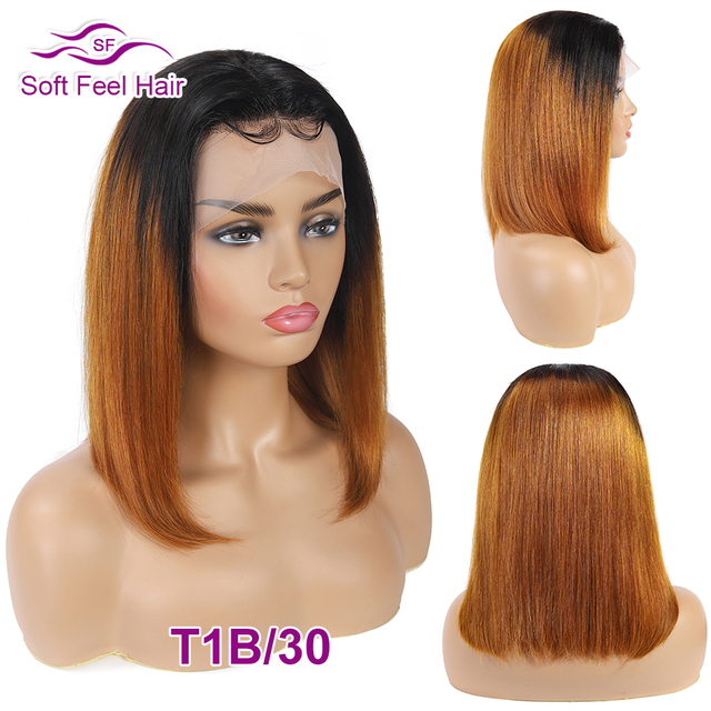 Ombre Lace Front Human Hair Wigs For Black Women 13×4 Straight Short Bob Wigs Blonde Burgundy 99J Brazilian Wig Soft Feel Hair