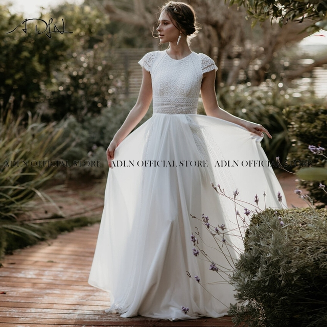 Exquisite Jewel Bohemian Wedding Dress Cap Sleeves Boho Lace Bride Dress Chiffon Beach Bridal Gown Customized 4