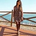 Женское осеннее платье с рукавами-фонариками и цветочным принтом, винтажные свободные платья с v-образным вырезом, женское дышащее шикарное...